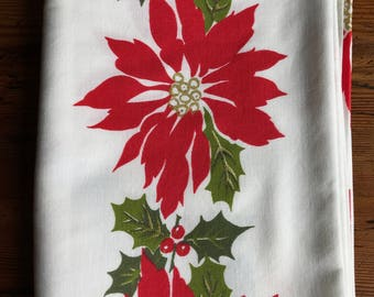 Vintage Christmas Tablecloth/Mid Century Cloth/60s and 70s/Large Tablecloth/Hostess Gift/Gift for Cooks/Holiday Table Decor/Made in the USA