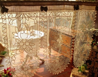 "CUSTOM 48"" French Vintage Lace Valance Beach BURLAP Window Curtain SHABBY Cottage Chic Cream Lace Flowers"