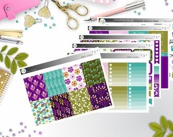 weekly kit - violet's garden (Erin Condren and Happy Planner Stickers)