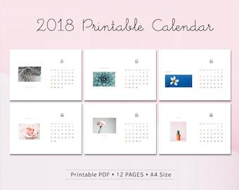 2018 Printable Calendar A4 /Flowers Calendar / 12 month calendar / Digital Download / Instant Download / Photography calendar