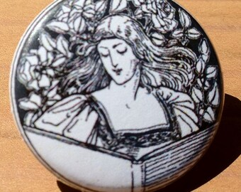 Reading Woman - button, magnet, or bottle opener
