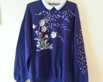 Vintage Dandelion Sweatshirt Morning Sun Large 80s