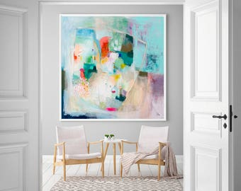 Wall art abstract painting giclee print, modern acrylic painting, large abstract print, green floral art, modern abstract art