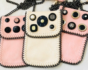 Crossbody Phone Bag, Embellished with Vintage Buttons, Fits most phones, Hands Free, lightweight and easy to wear