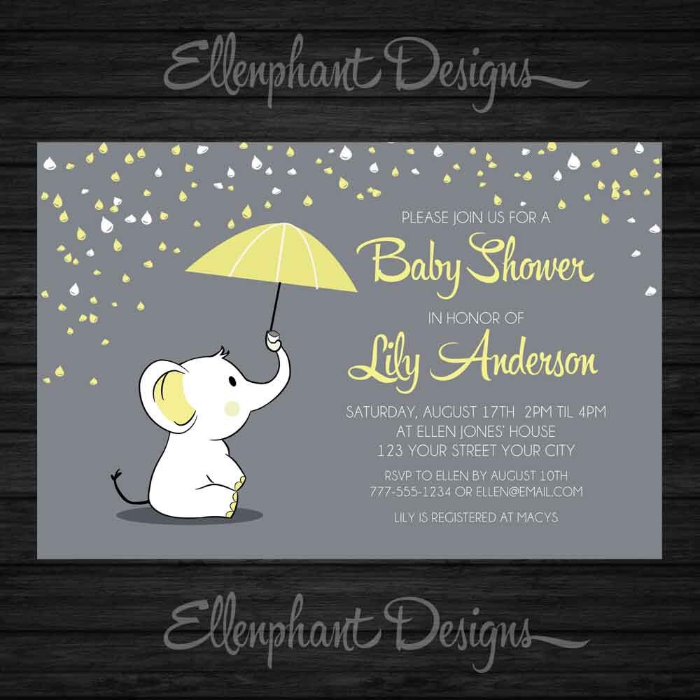 Yellow elephant Baby Shower Invitation umbrella rain baby