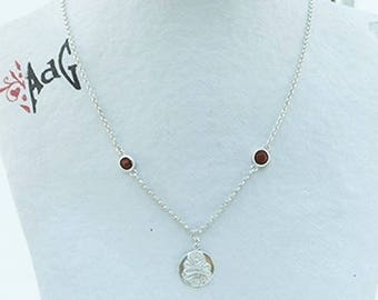long necklace mi, filigranee silver medal and wood cocobolo cabochon set, precious and filigree