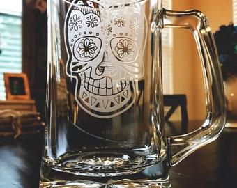 Sugar Skull Beer Mug Day of the Dead