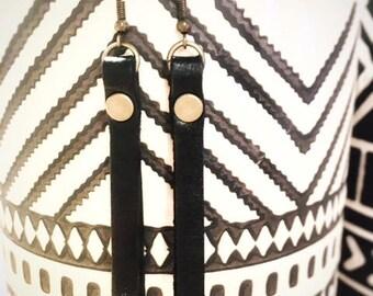 Black leather strap earrings   Leather tassel earrings