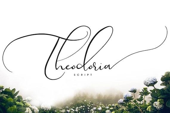 Calligraphy Font, Modern Calligraphy, Digital Fonts, Wedding Font, Invitation Font, Script Font, Digital Download, Theodoria