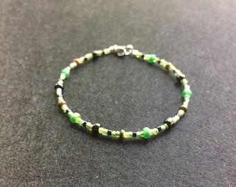 Green and black bead bracelet