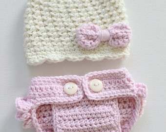 Baby Girl Hat and Diaper Cover Set, Newborn Photography Hat and Diaper Cover Set, Pink Baby Hat and Diaper Cover, Crocheted Hat with Bow