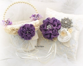 Flower Girl Basket, Ring Bearer Pillow,Purple,Plum, Ivory,Cream, Lace, Elegant Wedding, Vintage Style, Pearl Handle, Crystals, Brooch