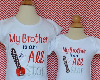 Personalized Baseball My Brother is an Allstar Applique Shirt or Onesie Girl or Boy