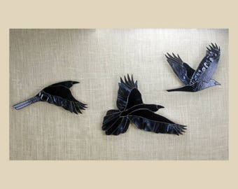 Stained Glass Raven Set, Stained Glass Birds, Raven Art, Gothic, Crow, Wall Hanging, Raven Art, Glass Art, Wildlife Art, Bird Lovers Gift