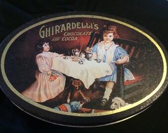 Vintage Replica Ghirardelli's Chocolate And Cocoa Decorative Tin