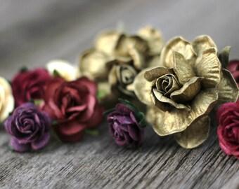 Gold Burgundy Plum Ivory Wedding Hair Accessories Burgundy Hair Pins Floral Hair Piece Flower Hair Clips Burgundy Hair Piece Flower Picks