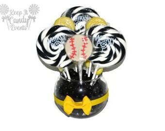 Customizable Small Baseball Lollipop Centerpiece, Sports Party, Centerpiece, Baseball Party, Team Party Decor, Baseball Theme Centerpiece