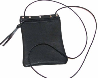 Black Deerskin Casey Cross Body Pouch Handmade