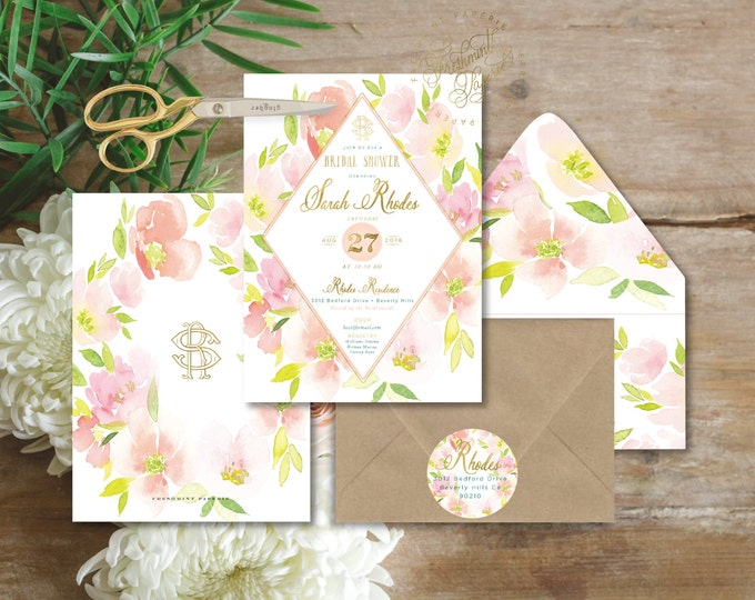 watercolor floral invitation - floral invitation - bridal shower invitation - watercolor invitation - baby shower - freshmint paperie