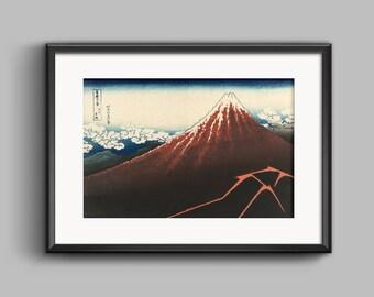 View of Mount Fuji - Katsushika Hokusai - 1829 Japan - Vintage art print, poster - Mount Fuji - home decor, Vintage art print, Japanese art