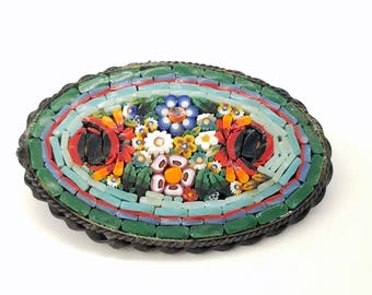 Vintage Italian Micromosaic Oval Shaped Floral Brooch in Green, Blue, Red & Orange