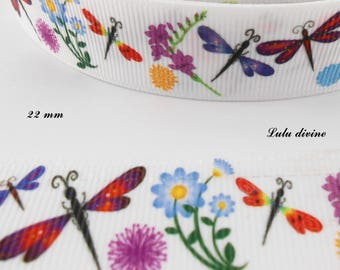 Ribbon grosgrain white Dragonfly flowers & dandelion 22 mm sold by 50 cm