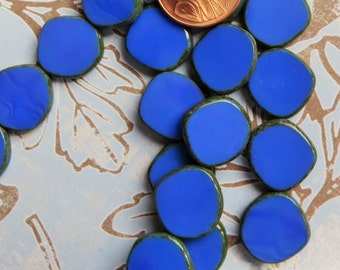 Blue Czech Disk Beads With Picasso Edge, 15 x 15 mm, 10 Beads - Item 3620
