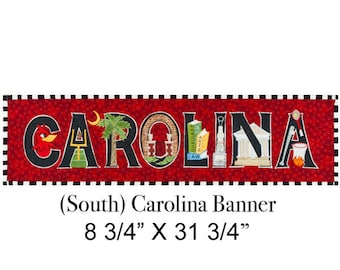 Original Textile Collage- University of South Carolina Banner-unframed, shipped in a tube.