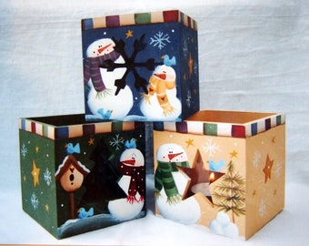 Mini Candle Boxes - Snowmen By Laurie Speltz Tole And Decorative Painting Packet 2000