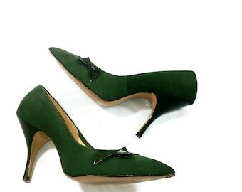 Vintage DePerini Green Suede Pumps