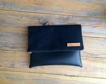 Sophisticated Black on Black Fold Over Clutch
