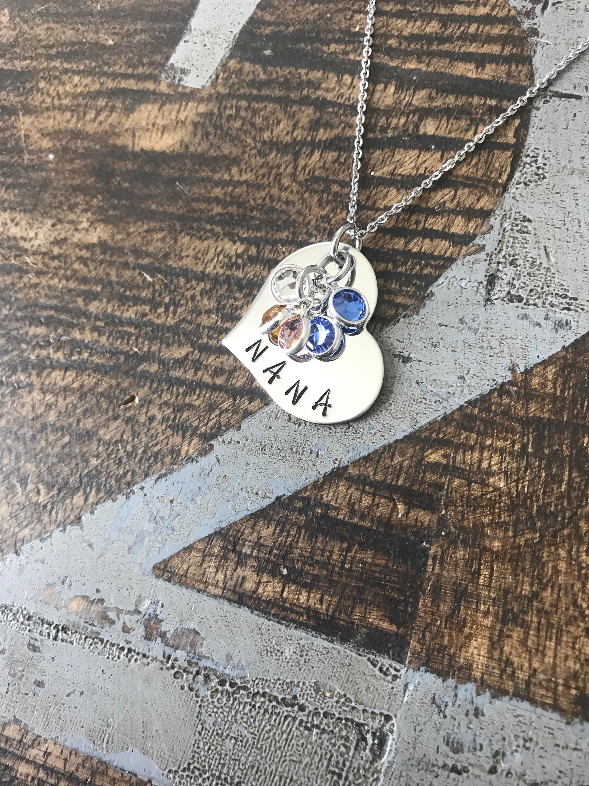 grandchild charm necklace grandmother with stamped initial one silver grandkid birthstone tag s for grandmothers
