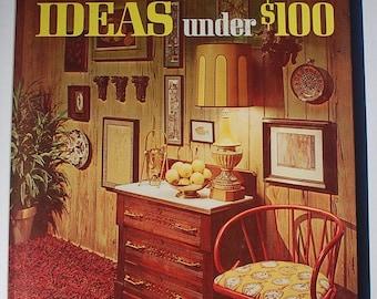 Better Homes and Gardens Decorating Ideas under 100 dollars 1971 vintage midcentury interior design book