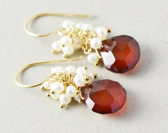 Brown Chalcedony Dangle Earrings, Pearl Cluster Earrings, Autumn Fall Earrings
