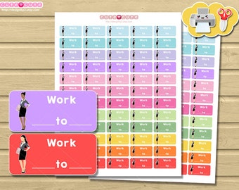Work schedule daily tracker, Printable Planner stickers for Erin condren or Happy planner. Cute stickers,  Planner and organize