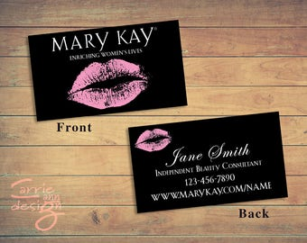 Mary Kay 2-sided Business Cards, printable, lips, pink, custom, make-up, download