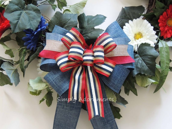 Primitive Rustic Patriotic Stripes Bow Patriotic Wreath bow July 4th Wreath Bow Patriotic Denim Wedding Pew Bow 4th of July Denim wreath Bow