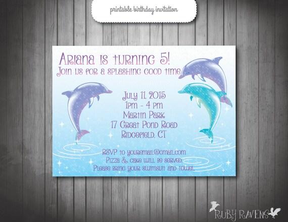 Dolphin Invitation Pool party invitation Swim party