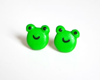 Frosch Ohrstecker Ohrringe, Fimo, Polymer-Ton