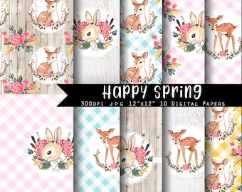 Happy Spring  Easter Digital Paper Set  I N S T A N T • D O W N L O A D Easter  and Spring Scrapbooking papers
