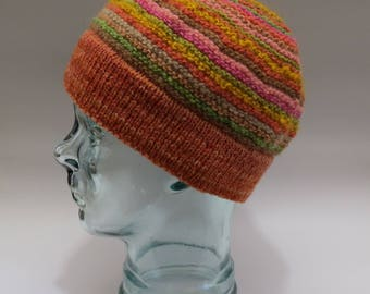 orange multi circles hat