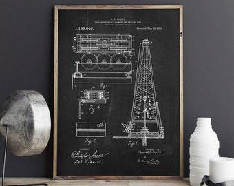 Oil Drilling Rig Patent, Train Patent, Drilling Machine, Texas Art, Oil & Gas Patent, Office Decor, Patent Poster - DA0698