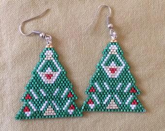 Fancy Christmas tree beaded earrings