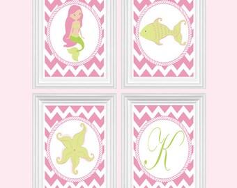 Mermaid Art Nursery Decor Custom Initial Print Girl's Room Baby's Room Chevron Pink Green- Wall Art Print Set of 4 - 8x10 Kid Room Decor