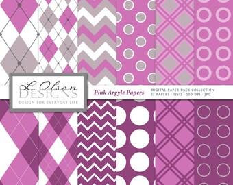 Argyle Plaid Paper Pack - Pink - 12 digital paper patterns - INSTANT DOWNLOAD
