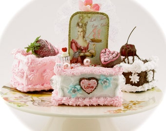 Marie Antoinette Fake Petit Four Collection. Set of 3 Petit Fours. Birthday Party Decor/ Cake Topper/Home Decor. 12 Legs Designer Collection