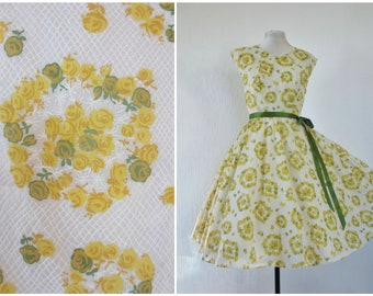 1950s Dress 50s Green Yellow Rose Print Floral Dress Sheer Nylon Full Skirt Dress with Full Circle Slip S / M