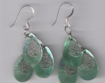 Shell Earrings with silver lace
