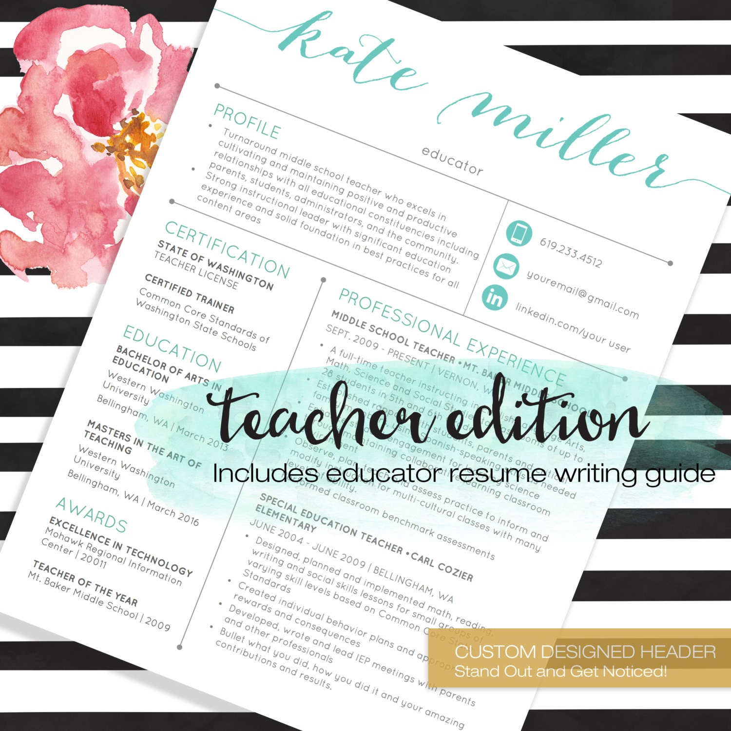 Cool Teacher Resume Template Etsy Images The Best Curriculum