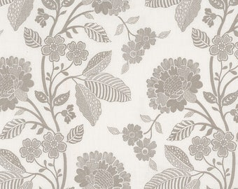 Schumacher Elspeth Dove grey or Blue and White Embroidered Fabric by the Yard